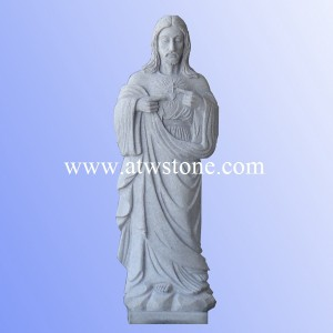 G633 Light Grey Granite Sacred Heart of Jesus Sculpture
