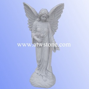 G633 Light Grey Granite Angel Holding Roses Sculpture