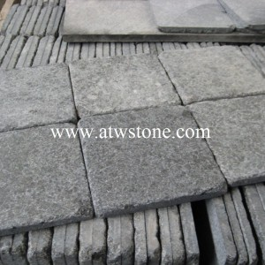 G684 Black Granite Flamed and Tumbled