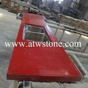 Red Mirror Quartz Kitchen Tops